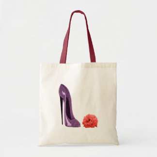 Red Rose and Lilac Stiletto Shoe Bag