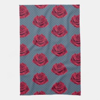 Red Rose and Navy Polka Dot Tea Towel