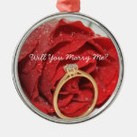 Red rose and ring proposal ornament