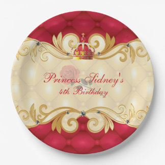 Red Rose and Vintage Gold Princess Party 9 Inch Paper Plate