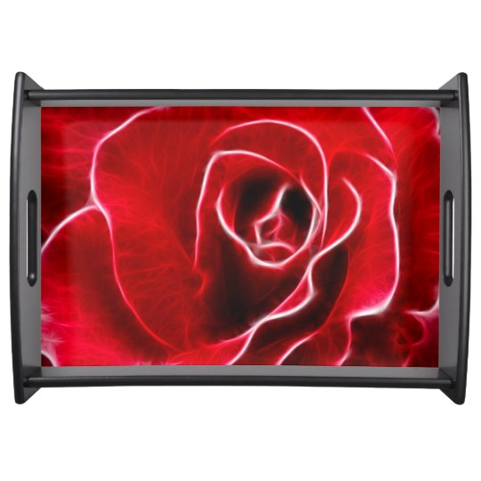 Red rose art service trays