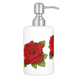Red Rose Art Soap Dispenser And Toothbrush Holder
