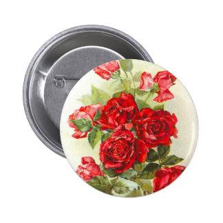 red rose 6 cm round badge