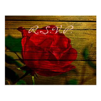 red rose barn wood country wedding rsvp postcard