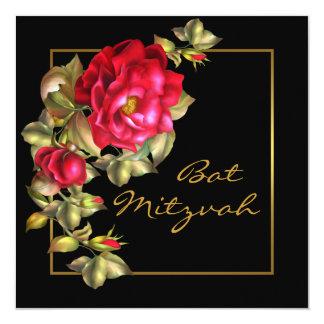 Red Rose Bat Mitzvah 13 Cm X 13 Cm Square Invitation Card