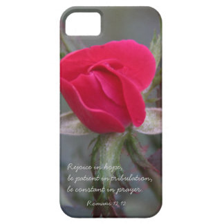 Red Rose, Bible Verse about Hope, Romans 12:12 iPhone 5 Cover