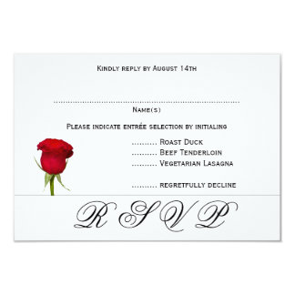 Red Rose Black and White Wedding RSVP Menu Cards