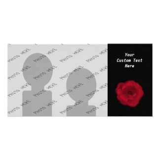 Red Rose Black Background Personalized Photo Card