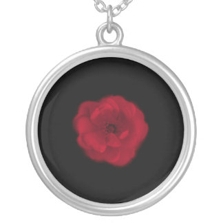Red Rose. Black Background. Silver Plated Necklace