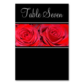 Red Rose Black Silver Wedding Card