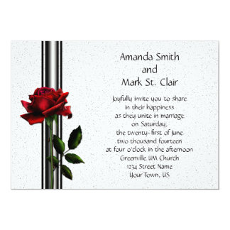 Red Rose Black Stripes Wedding Invitation