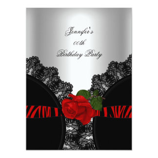 Red Rose Black Zebra Lace Silver Party Large 17 Cm X 22 Cm Invitation Card