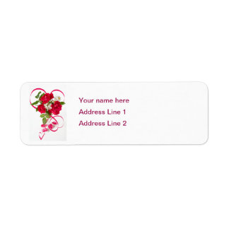 Red Rose Bouquet and Ribbon Return Address Label