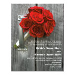 "Red Rose Bouquet & Barnwood Wedding 4.25"" X 5.5"" Invitation Card"
