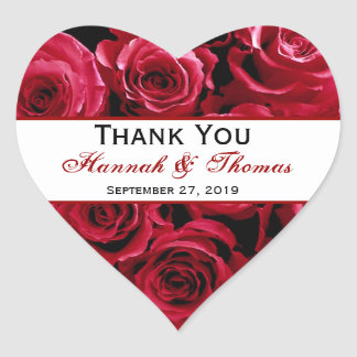 Red Rose Bouquet Thank You Bride Groom Wedding Heart Sticker
