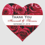 Red Rose Bouquet Thank You Bride Groom Wedding Heart Stickers