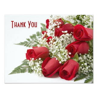 Red Rose Bouquet Thank You Card 11 Cm X 14 Cm Invitation Card