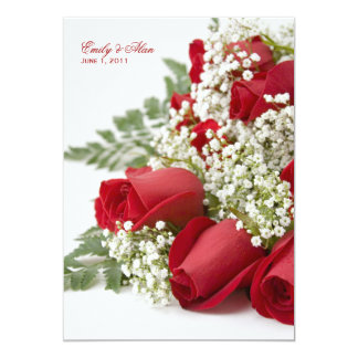 Red Rose Bouquet Wedding Invitations