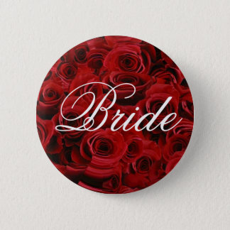 Red rose bride button