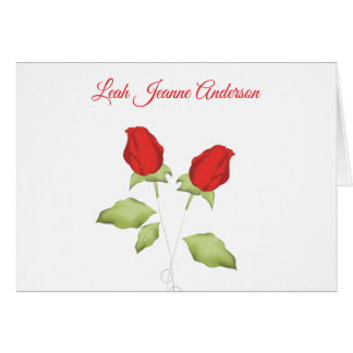 Red rose bud note cards