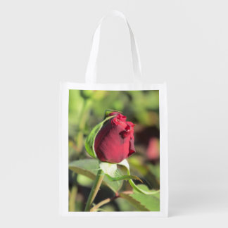 Red Rose Bud Reusable Grocery Bag
