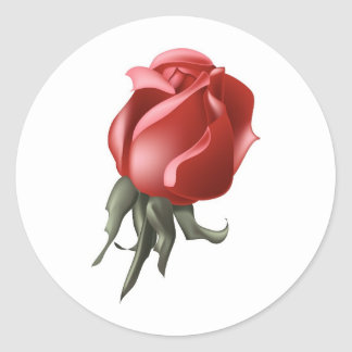 Red Rose Bud Round Sticker