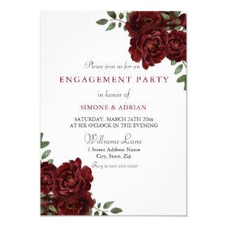 Red Rose Burgundy Elegant Engagement Party Card