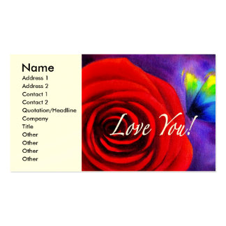 Red Rose Butterfly Painting - Multi Pack Of Standard Business Cards