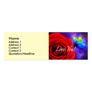 Red Rose Butterfly Painting - Multi Pack Of Skinny Business Cards