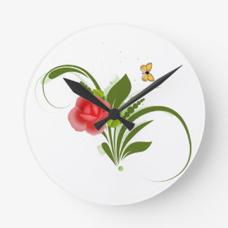 Red Rose+Butterfly,Wall Clock