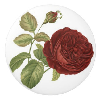 RED ROSE CERAMIC KNOB