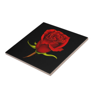 Red Rose Ceramic Tile on Black