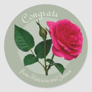 Red rose Congrats Exams Celebrations CC0883 Classic Round Sticker