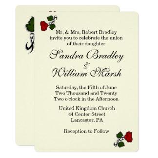 Red Rose Cream Wedding Invitation