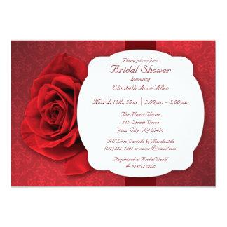Red Rose Damask Bridal Shower Invitations