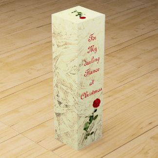 Red Rose Darling Fiance at Christmas design Wine Gift Box