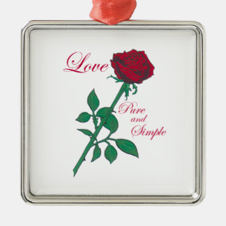Red Rose Square Metal Christmas Ornament