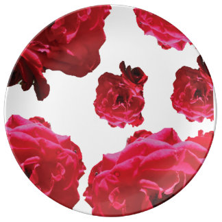 Red Rose Decorative Porcelain Plate