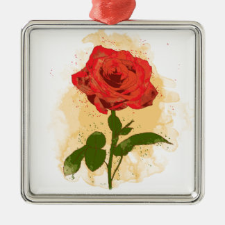 Red Rose Design Christmas Ornament