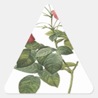 Red Rose Design Triangle Sticker