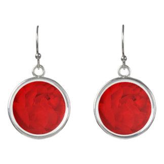 Red Rose  Drop Earrings