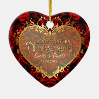 Red Rose Elegance - 50th Anniversary Christmas Ornament