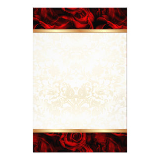Red Rose Elegance Custom Stationery