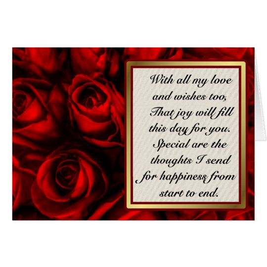 Red Rose Elegance - Customise inside text. Card