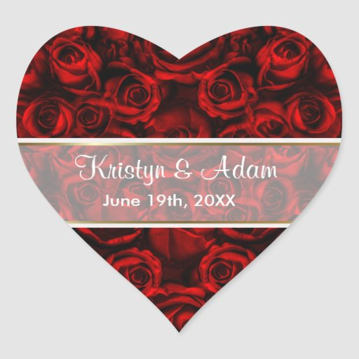 Red Rose Elegance - Customize Heart Sticker