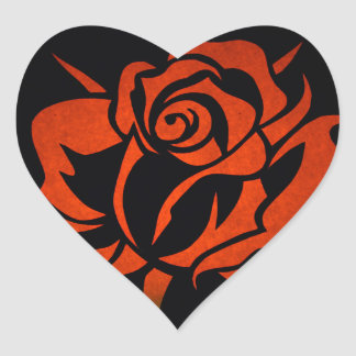 Red Rose Etching on Black Heart Sticker