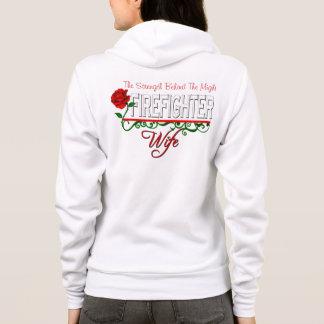Red Rose FIREFIGHTER WIFE Zip Fleece Sweatshirt