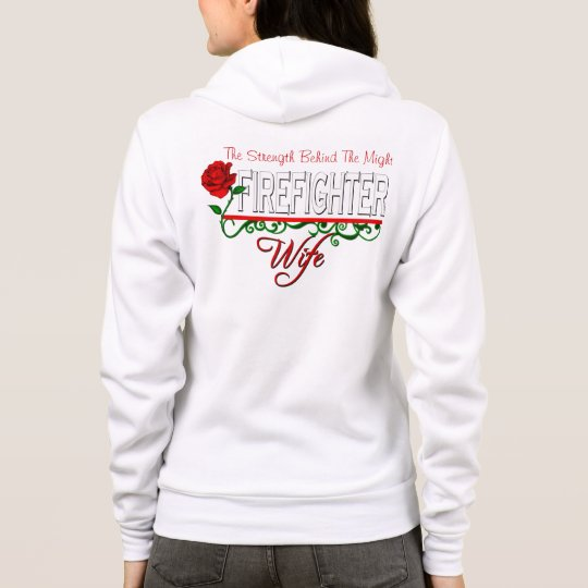 Red Rose FIREFIGHTER WIFE Zip Fleece Sweatshirt