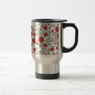 Red Rose Floral Pattern Coffee Mugs