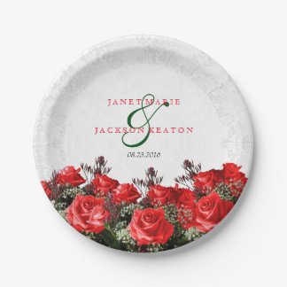 Red Rose Floral Wedding Paper Plate